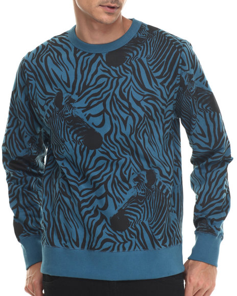 Waimea - Men Blue Zebra Crewneck Sweatshirt
