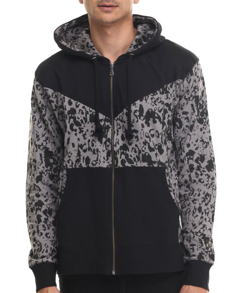 Waimea - Men Black,Grey Leopard Zip - Up Hoodie