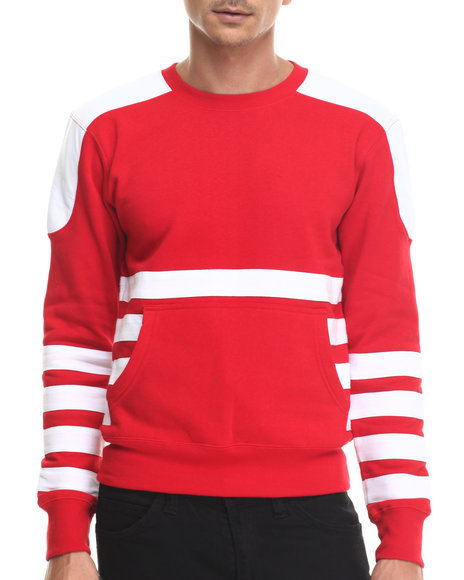 Ur-ID 187981 Buyers Picks - Men Red Bear The Beams Front - Pocket Striped Crewneck Sweatshirt