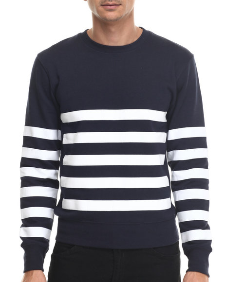 Ur-ID 187989 Buyers Picks - Men Navy Bear The Beams Striped Crewneck Sweatshirt