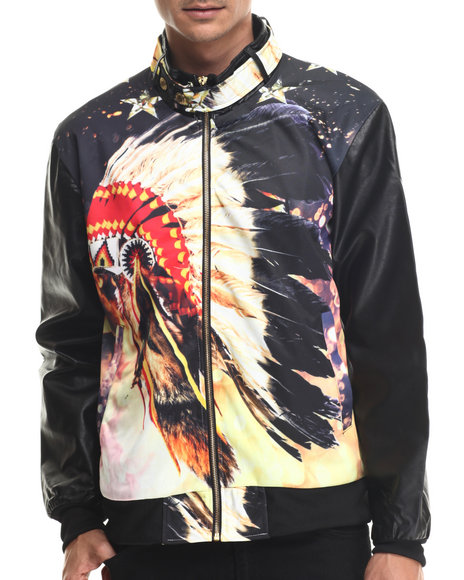 Ur-ID 187990 Buyers Picks - Men Black Chief Head Sublimation Jacket W/ Faux Leather Sleeves by Buyers Picks