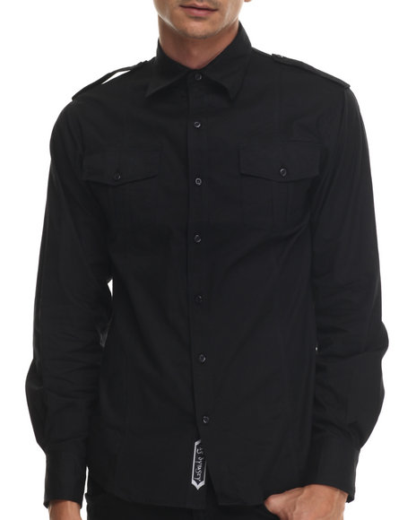 Basic Essentials - Men Black Rag Dynasty L/S Button-Down