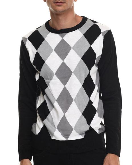 Buyers Picks - Men Black Austin Argyle Sweater
