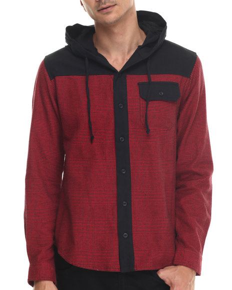 Waimea - Men Red Mixed Herringbone Plaid Hooded L/S Button-Down