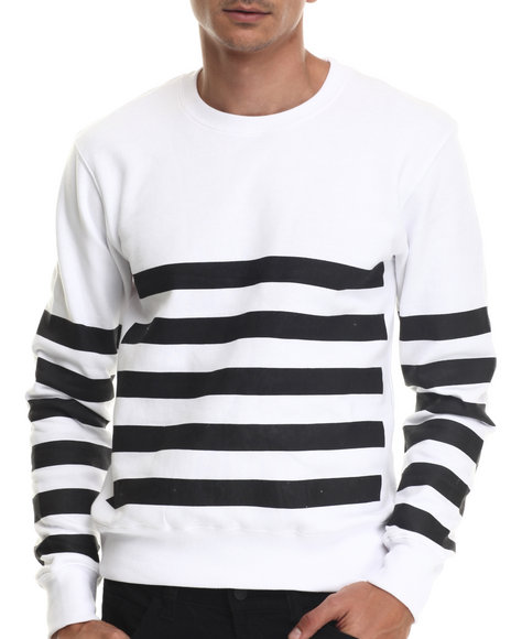 Ur-ID 188000 Buyers Picks - Men White Bear The Beams Striped Crewneck Sweatshirt