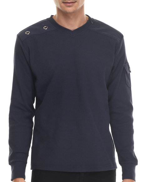 Basic Essentials - Men Navy Cascade V-Neck L/S Thermal Shirt