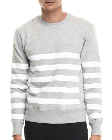 Buyers Picks - Men Grey Bear The Beams Striped Crewneck Sweatshirt