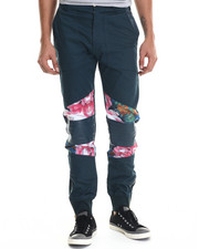 Jeans & Pants - Floral Lux Woven Jogger Pant w/ Tripunto split leather