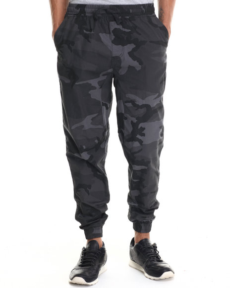 Buyers Picks - Men Black Twill Fashion Camo Jogger Pants