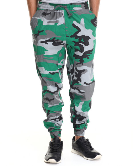 Ur-ID 187952 Buyers Picks - Men Green Twill Fashion Camo Jogger Pants