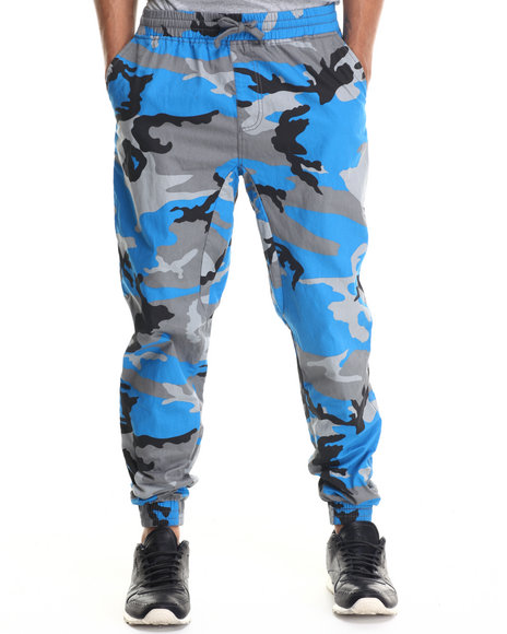Ur-ID 187961 Buyers Picks - Men Teal Twill Fashion Camo Jogger Pants