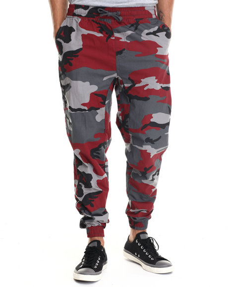 Buyers Picks - Men Camo,Red Twill Fashion Camo Jogger Pants - $35.99