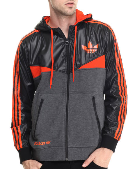 Adidas - Men Black,Orange Colorado Zip Tech Hoodie