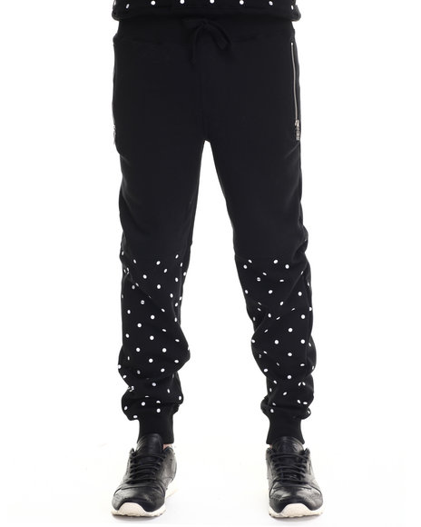 Ur-ID 188010 Buyers Picks - Men Black Bear The Beams Polka Dot Joggers by Buyers Picks