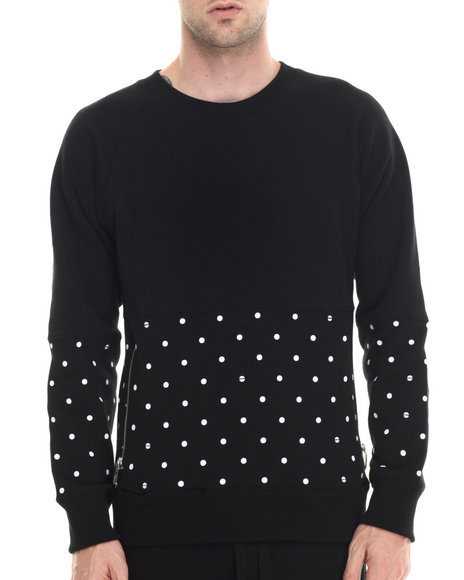 Ur-ID 188019 Buyers Picks - Men Black Bear The Beams Polka Dot Crewneck Sweatshirt