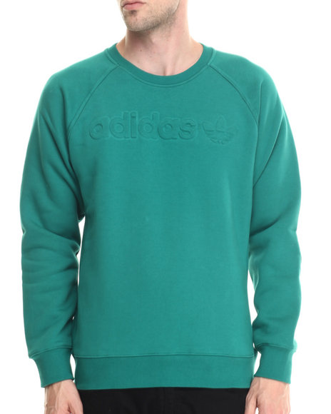 Ur-ID 188030 Adidas - Men Green Premium Fleece Crew Sweatshirt