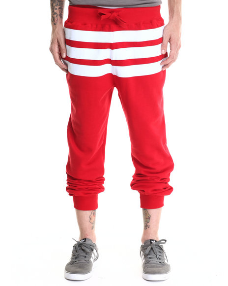 Buyers Picks - Men Red Bear The Beams Striped Joggers