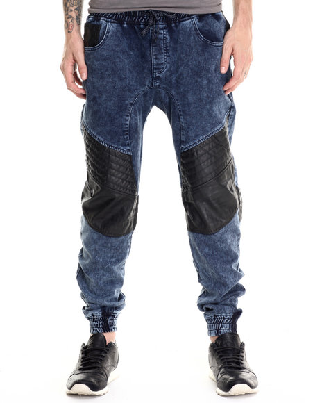 Buyers Picks - Men Medium Wash Washed French Terry Joggers W/ Faux Leather Trim - $76.99