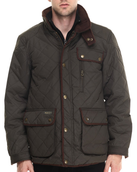 Basic Essentials - Men Olive Marchello Diamond - Quilted Fleece - Lined Jacket