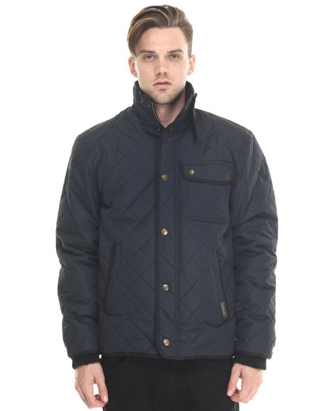 Ur-ID 188044 Basic Essentials - Men Navy Marco Diamond - Quilted Mid - Weight Jacket