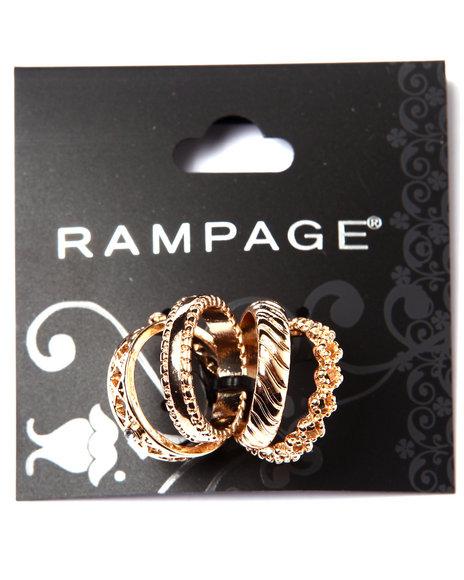 Rampage Women Textured Midi Ring Set Gold