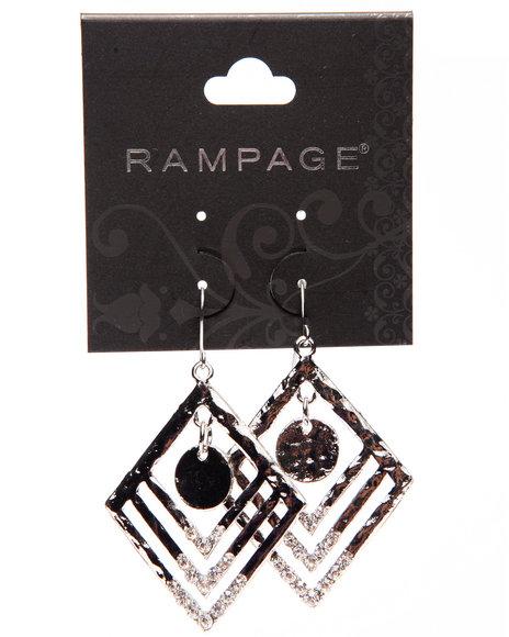 Rampage Women Textured Diamond Shaped Earrings Silver