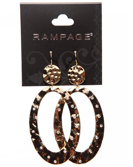 Rampage Women Hammered Large Oval Earrings Gold