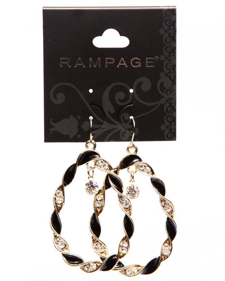 Rampage Women Twisted Oval Drop Earrings Black