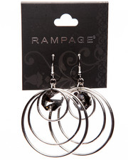 Rampage - Tri Hoop Jewel Drop Earrings