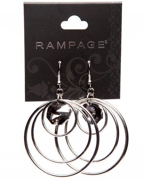Rampage Women Tri Hoop Jewel Drop Earrings Silver