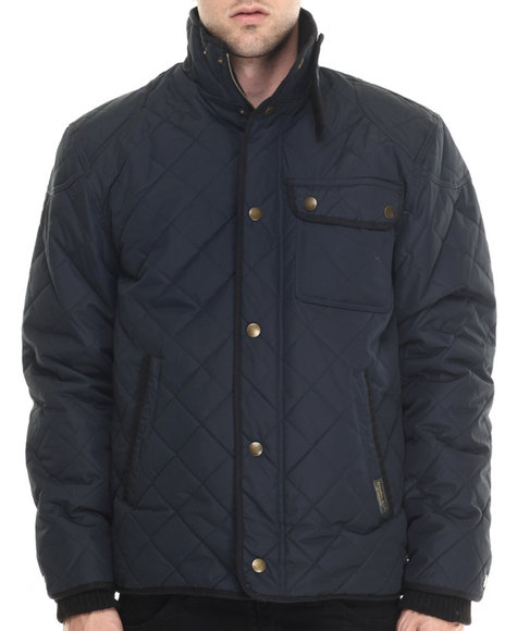 Basic Essentials - Men Navy Marco Diamond - Quilted Mid - Weight Jacket