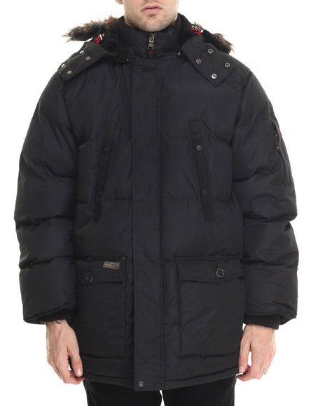 Basic Essentials - Men Black Sierra Quilted Snorkel Parka Coat