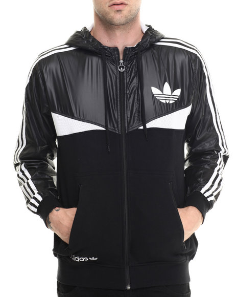 Adidas - Men Black,White Colorado Zip Tech Hoodie