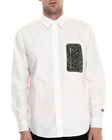 Adidas - Men Off White Adventure Zip Pocket Shirt