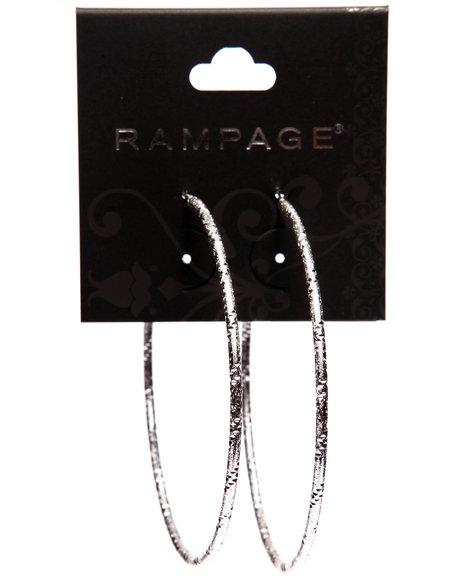 Rampage Women Textured Large Hoop Earrings Silver