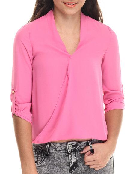 Ali & Kris - Women Pink Hi-Low Hem Chiffon Top - $12.99