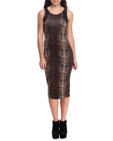 Ali & Kris - Women Animal Print,Brown Animal Print Mesh Trim Midi Dress