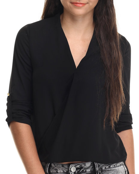 Ali & Kris - Women Black Hi-Low Hem Chiffon Top - $29.00