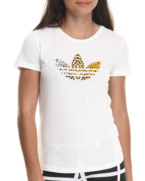 Adidas - Women Animal Print,White Leopard Trefoil Tee