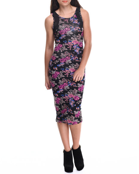 Ali & Kris - Women Black Floral Print Mesh Trim Midi Dress