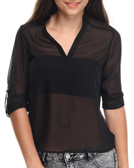 Ali & Kris - Women Black Roll-Up Sleeve Chiffon Top - $17.99