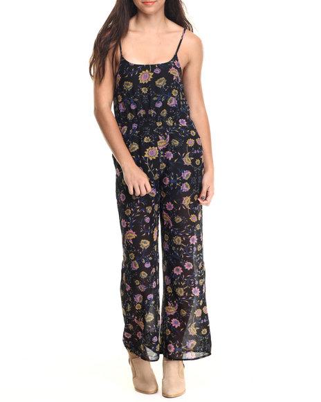 Ali & Kris - Women Black Floral Chiffon Jumpsuit - $13.99