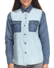 Polos & Button-Downs - Denim Feel L/S Shirt