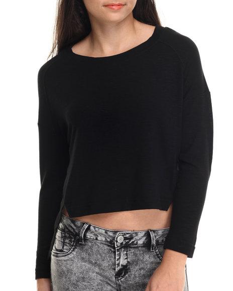 Ali & Kris - Women Black Textured Knit Hi- Low Hem Top
