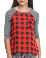 Short-Sleeve - Buffalo Plaid Solid Sleeves Top
