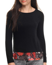 Long-Sleeve - Brushed Hachi Floral Hem L/S Top
