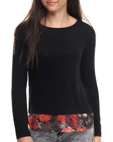 Ur-ID 188184 ALI & KRIS - Women Black Brushed Hachi Floral Hem L/S Top
