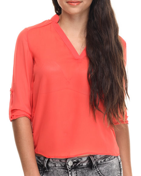 Ali & Kris - Women Red Roll-Up Sleeve Chiffon Top - $11.99