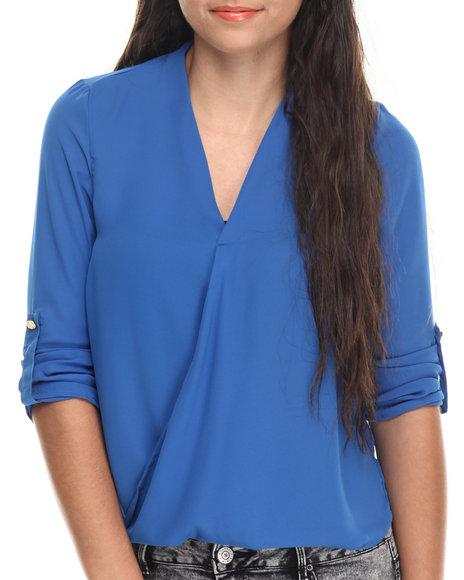 Ur-ID 188190 ALI & KRIS - Women Blue Hi-Low Hem Chiffon Top