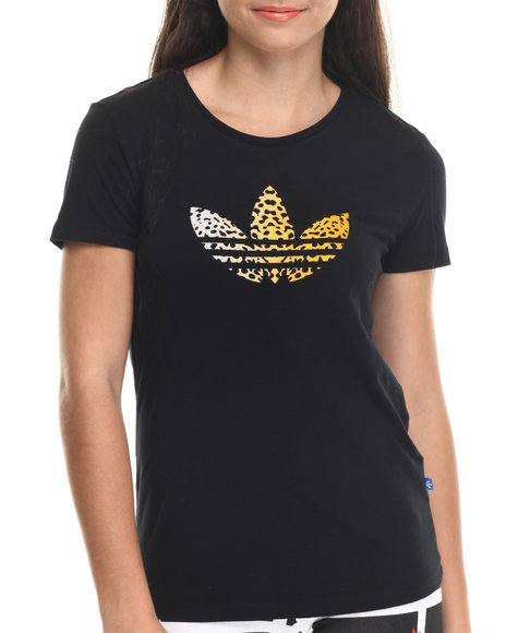 Adidas - Women Animal Print,Black Leopard Trefoil Tee